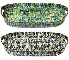 3. Home Decorators Collection Sheraton Green/Blue Ikat Trays, $103 for a set of two from Home Depot
