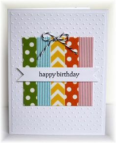 This is washi tape wrapped around cardstock, but could easily use scraps of paper.