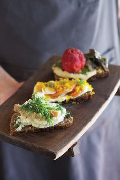 That Plate It Becomes You: At Bar Tartine in San Francisco, Nicolas Balla sends out a selection of smørrebrød on a wooden tray by local Jesse Schlesinger.