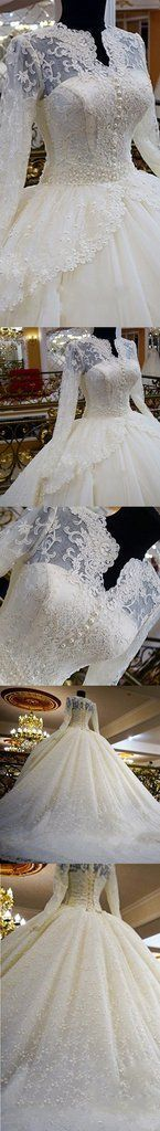 Vintage Unique Gorgeous Ball Gown Full Ivory Lace Beading Long Sleeve Elegant Appliques Lace Up Back Wedding Dress The wedding dresses are fully lined, 4 bones