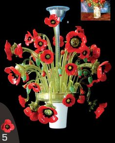 Murano Italian Glass Decor Lights, Lighting, Lamps and more - Murano Glass Flower Chandelier Poppies, $27,377.934 (http://www.italiandecor-glasslights.com/murano-glass-floral-chandeliers/italian-glass-floral-chandelier-poppies/)