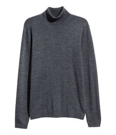 Merino Wool Turtleneck Sweater | Dark gray melange | MEN | H&M US