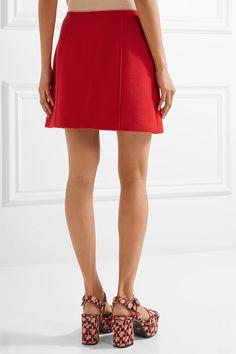 Prada - Button-embellished Wool Mini Skirt - Red