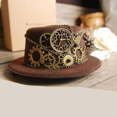 Brown Steampunk Gear Vintage Mini Top Hat Special Use: Costumes Pattern Type: Solid Department Name: Adult Gender: Women Material: Cotton Top Type: Dome
