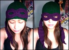 MUST HAVE!!! Crocheted  TMNT ASh  beanies with masks ASh is have a ninja turtle birthday party what a good gift Grandma Leora.