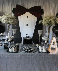 Black and white tuxedo birthday party! See more party planning ideas at… 50th Birthday Party Ideas For Men, Adult Birthday Party, Man Birthday, Birthday Decorations For Men, Bowtie Birthday Party, Mustache Party, 70th Birthday Parties, Soirée James Bond, James Bond Party
