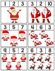 Clip cards featuring Santas to help teach numbers Super easy prep, 18 cards total! Preschool Christmas Activities, Christmas Worksheets, Kids Math Worksheets, Christmas Math, Free Preschool, Preschool Printables, Noel Christmas, Kindergarten Activities, Preschool Activities