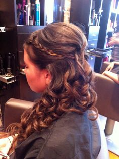 Braid updo style to the side prom hair or bridesmaid hairstyle by Joanne at bangZ salon bellmore ny 516-781-1111