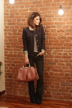love combination of the blazer with sequin blouse