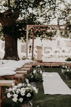 Stylish Outdoor Wedding at The Oaks Estate, Greyton, South Africa with Houghton NYC Gown Wedding Ceremonies At Home, Wedding Altars, Wedding Ceremony Decorations, Ceremony Backdrop, Home Wedding, Outdoor Ceremony, Wedding Aisles, Wedding Backdrops, Wedding Reception