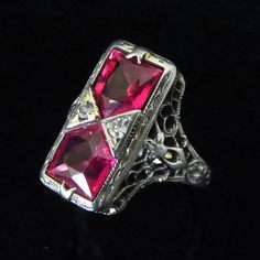 Gorgeous Antique Art Deco Synth Rubies Diamonds by sohojewelers