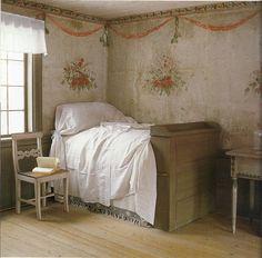 The Paper Mulberry: Delft Blue, Gustavian Grey Rustic Romantic Bedroom, Rustic Room, Scandinavian Bedroom, Scandinavian Design, Swedish Bedroom, Paper Mulberry, Swedish Interiors, French Interiors, Interior And Exterior