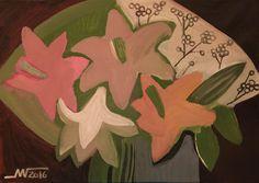 Marina Gorkaeva. Flowers.  Painting: Acrylic and Tempera on Paper.  30 H x 42.3 W x 0.1 cm.  2016