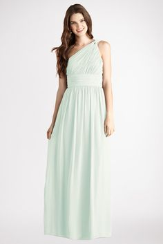 Subtle ruching highlights this flowy one  shoulder hint of mint chiffon  dress  with a  flattering set  in  waist and floor  length skirt.