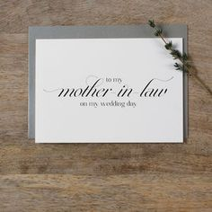 'To My Mother In Law On My Wedding Day' - wedding cards & wrap