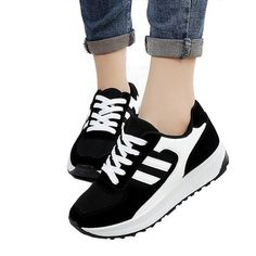 ANDAY Women's Fashion Casual Sports Training Running Shoes Sneakers Lace Up Black