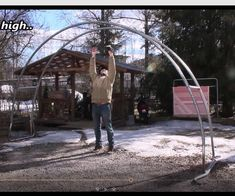 Re-using Old Trampoline to Garden Archway.: 3 Steps (with Pictures) Maybe a carport Recycled Trampoline, Trampoline Parts, Old Trampoline, Backyard Trampoline, Trampoline Ideas, Backyard Gazebo, Trampolines, Garden Archway, Garden Arbor
