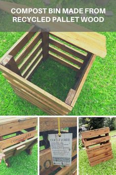 Compost bins are containers for the production of compost from organic household waste. This allows the reduction of the generation of waste for 1001 Pallets, Recycled Pallets, Wood Pallets, Pallet Wood, Recycled Garden, Pallet Benches, Pallet Couch, Pallet Tables, Pallet Bar