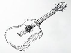 Continuous line drawing of a guitar