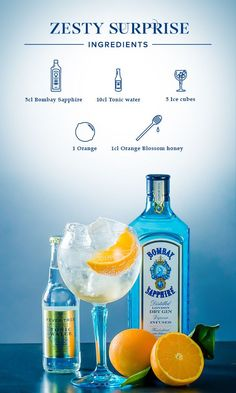 Zesty Surprise: 1. Fill glass with ice cubes, add 5cl Bombay Sapphire and top off with tonic water. 2. Add orange blossom honey and gently stir. 3. Garnish with an orange peel.