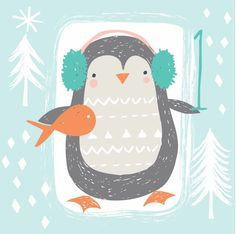 Advent day 1 Pinguin Illustration, Winter Illustration, Love Illustration, Christmas Illustration, Christmas Drawing, Christmas Art, Penguin Art, Dibujos Cute, Christmas Characters