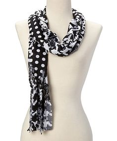 Look at this White Skull Fringe Scarf on #zulily today!