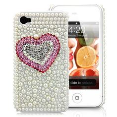 Rhinestone Heart Decorated Pearls Covered Hard Case For iPhone 4S - White. $19.95, via Etsy.