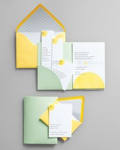 """What's not to love about a handy pocket, whether it's hidden within the folds of a dress or organizing all the pieces of your stationery? Regas NY's """"Modern Mint"""" makes it easy to inform guests about multipart events. Love the idea of a folder. Yellow Wedding Colors, Wedding Color Schemes, Green Wedding, Spring Wedding, Wedding Stationary, Wedding Invitations, Best Friend Wedding, Martha Stewart Weddings, Plan Your Wedding"""