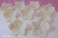 EDIBLE SUGAR FLOWERS WHITE IVORY CAKE DECORATIONS wedding petunia cake topper