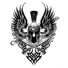 Tribal And Wings Greek Tattoo Design