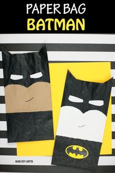 Paper bag Batman craft for kids who love superheroes. Make an easy paper bag Batman craft. Paint, cut and glue and kids can turn a brown paper bag into their favorite superhero. Fathers Day Crafts, Fun Crafts For Kids, Toddler Crafts, Preschool Crafts, Preschool Christmas, Christmas Crafts, Craft Kids, Batman Crafts, Avengers Crafts