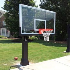 "Barbarian Basketball Systems Destroyer  Adjustable 72"" In-Ground Basketball Goal with a Glass Backboard"