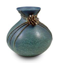 Evergreen vase in Rainstorm by Ephraim Faience Pottery. nouveau clay ceramics