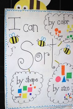 This anchor chart is a great way to organize sorting. I think I will prep it ahead of time, and have the class organize the shapes and glue them in the bubbles.