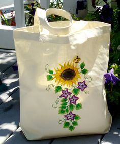 Sunflower And Purple Flowered Tote Bag