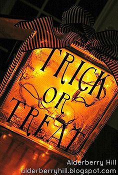 fall halloween decor, crafts, halloween decorations - Fall Halloween Decor Turn a glass block into a shimmering Halloween light. With some adhesive vinyl, ribbon, tulle & lights...the possibilities are endless.