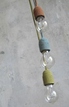 knitted inspection light with bulb (many colours available) Diy Luminaire, Diy Lampe, Lampe Crochet, Diy Crochet, Crochet Lampshade, Crochet Decoration, Crochet Home Decor, Knitting Projects, Crochet Projects
