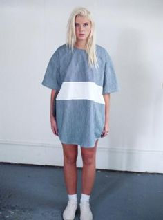 Young British Designers: Striped Denim T-Shirt Dress by Otho - Laid back summer dressing by Otho. Both cool to go and fun to wear. Styled in the less-is-more Otho fashion.