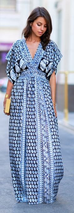 Blue And Black Printed V-neck Maxi Dress by Vivaluxury