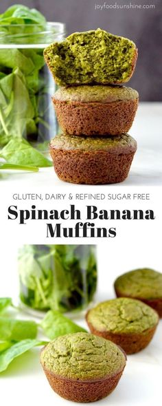 Spinach Banana Muffins Gluten dairy refined sugar free An easy healthy freezerfriendly breakfast recipe full of fruit and veggies Healthy Muffins, Healthy Sweets, Healthy Baking, Healthy Snacks, Healthy Recipes, Dairy Free Recipes, Baby Food Recipes, Cooking Recipes, Fruit Recipes