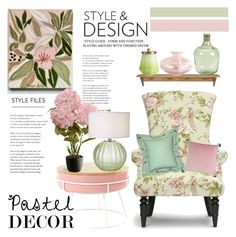 """""""Pretty Pastels"""" by hastypudding ❤ liked on Polyvore featuring interior, interiors, interior design, home, home decor, interior decorating, Baxton Studio, National Tree Company, Illume and Pillow Decor"""