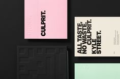 Culprit by Studio South, New Zealand. #branding #menu #design