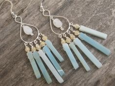 Moonstone & Amazonite Earrings Chandelier by Abundantearthworks, $64.00