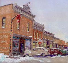 Slater Iowa Main Street  Christmas 1951