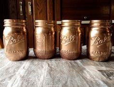 DIY rose gold metallic mason jars / makeup brush holder, pen holder,etc.