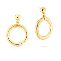 Lovely chunky 24 carat gold plated Audrey hoop earrings with stud ear fitting for women. Contemporary take on classic hoop earrings sported by iconic film stars, Audrey Hepburn and Marilyn Monroe.