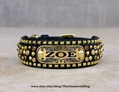 The Scroll Collar Is A 2'' Black Base With A 1.25'' Black Top Layer Tapered At The Buckle Adorned With A Brass Name Plate Spots And Gemstones Held together With Chicago Screws .  Colors Available For Name Plates  Pink, Blue, Lime Green, Turquoise, Red, Purple, Black  CUSTOM MADE TO ORDER