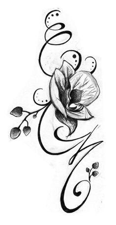 Blumenranken+Tattoo+Vorlage+Orchidee+Ideen+für+Frauen