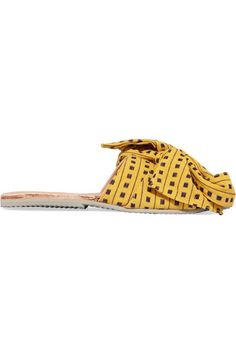 Brother Vellies - Burkina Bow-embellished Canvas Slides - Yellow - US11