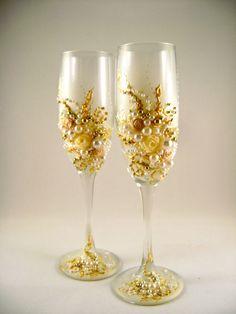 Elegant Wedding Champagne Gles Hand Decorated By Purebeautyart 52 00